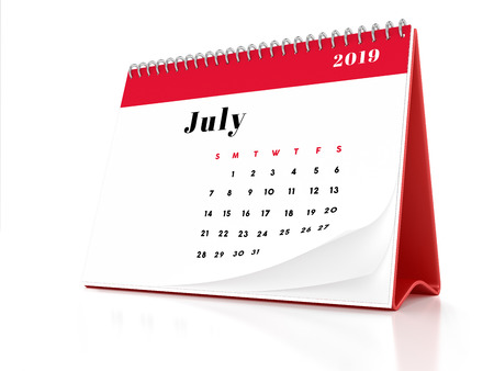 2019 July page of a desktop calendar on white background. 3D Rendering. Stock Photo