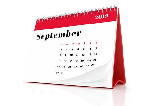 2019 September page of a desktop calendar on white background. 3D Rendering.