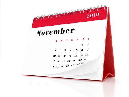 2019 November page of a desktop calendar on white background. 3D Rendering.