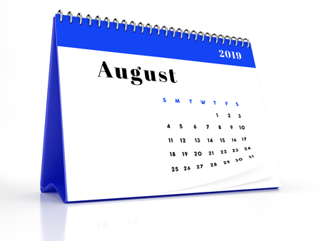 2019 August page of a desktop calendar on white background. 3D Rendering.