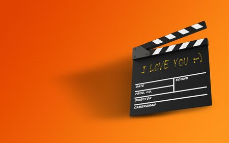 Thank You message written on a film slate with handwritten yellow chalk on orange background. Realistic design with copy space. 3d rendering.