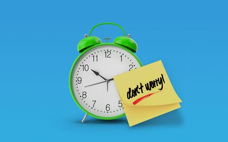Dont Worry message written on yellow sticky note paper attached to a green alarm clock on blue background. Realistic design with copy space. 3d rendering.