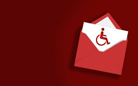 Wheelchair icon in an envelope on red background. High resolution image with copy space. Realistic shadows. 3D Rendering.