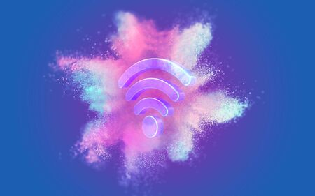 Wifi symbol on abstract pastel coral purple and blue color paint with blue background. Fluid creative concept composition with copy space. Minimal natural luxury. 3D rendering.