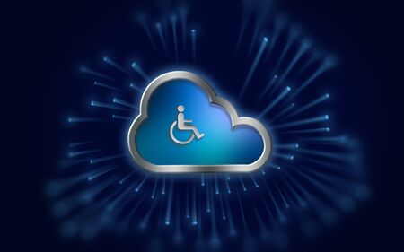 Wheelchair icon in a metallic cloud representing wireless technology on blue background with light streaks. 3D Rendering.
