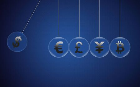 US Dollar on Newtons cradle swings through other currencies and about to break them. Financial business concept, currency symbols in pendulum bubble. 3D rendering. Stock fotó
