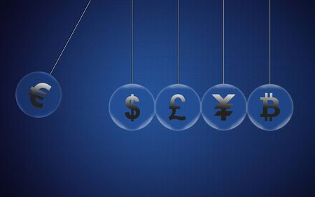Euro on Newtons cradle swings through other currencies and about to break them. Financial business concept, currency symbols in pendulum bubble. 3D rendering.