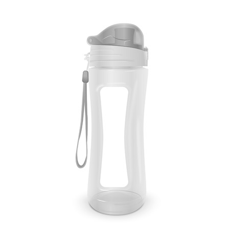 clear out: reusable water bottle isolated on white background