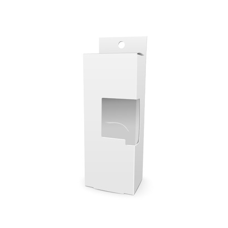 plastic window: cardboard box with a transparent plastic window isolated on white background Illustration