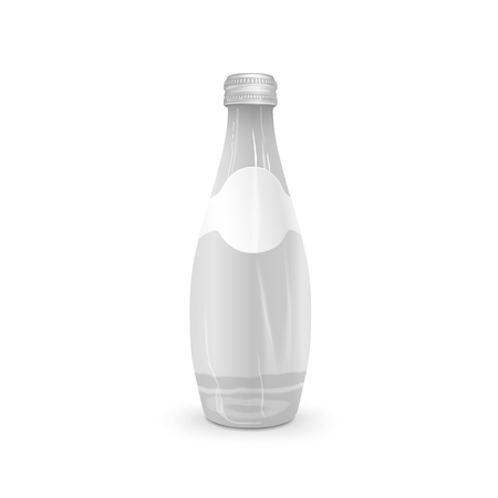 blank label: glass beverage bottle with blank label isolated on white background
