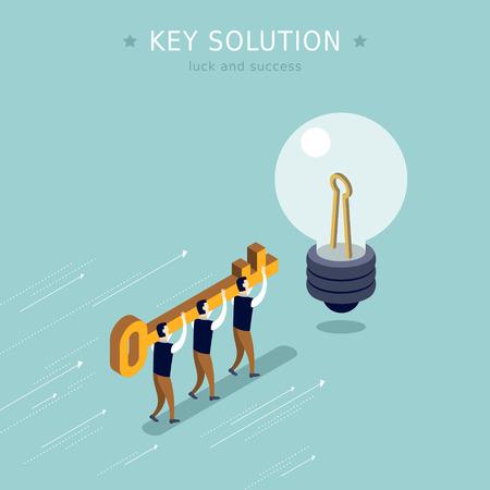 key solution concept 3d isometric flat design