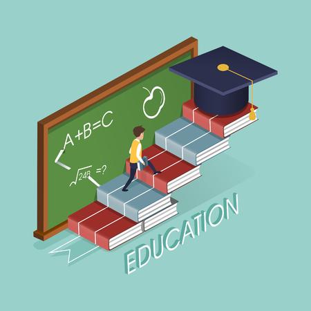 3D 아이소 메트릭 평면 디자인 책 계단 교육 개념