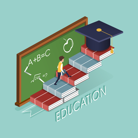 education concept with book stairs in 3d isometric flat design Çizim