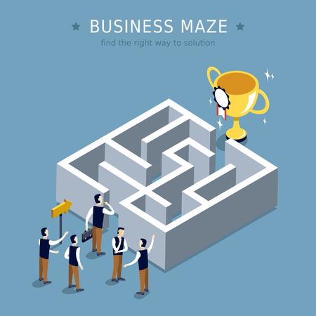 business maze concept 3d isometric flat design