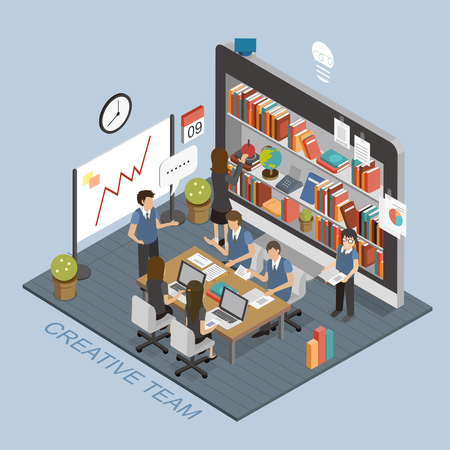 team worker: creative team concept in 3d isometric flat design