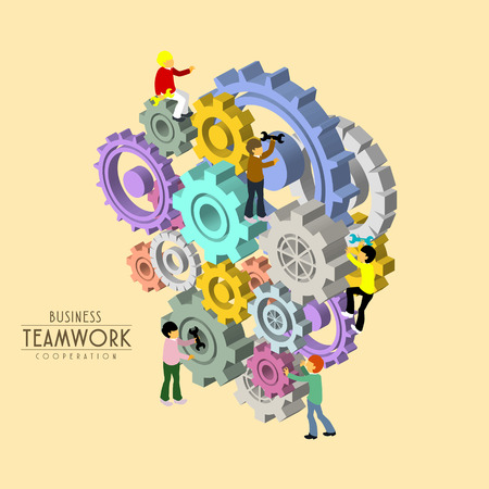 business teamwork concept in 3d isometric flat design Illustration