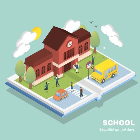 3D 아이소 메트릭 평면 디자인 학교 개념