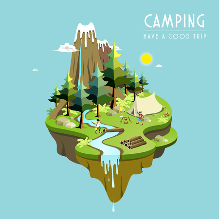 camping concept in 3d isometric flat design