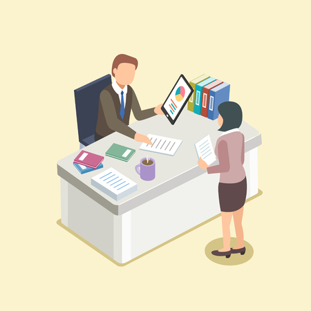 secretary office: boss and secretary in 3d isometric flat design