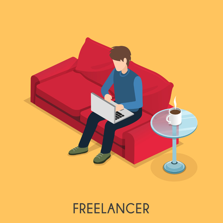 freelancer: freelancer working at home in 3d isometric flat design