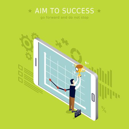 go forward: aim to success concept 3d isometric flat design Illustration