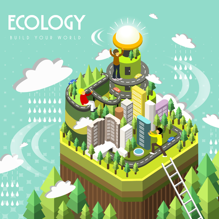 ecology concept in 3d isometric flat design  イラスト・ベクター素材