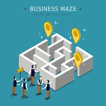 ビジネス迷路概念 3 d アイソ メトリック フラット デザイン