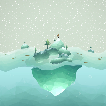 polar climate: iceberg scenery with a person in 3d isometric flat design