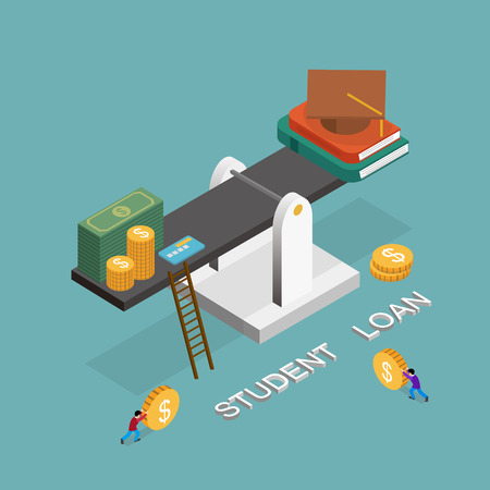 student loan concept in 3d isometric flat design