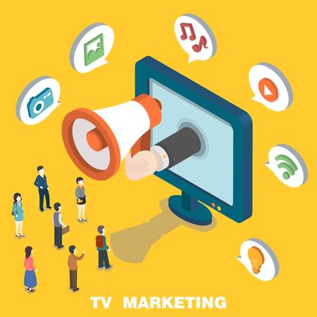 relaciones humanas: Concepto de marketing televisi�n en dise�o plano isom�trico 3d