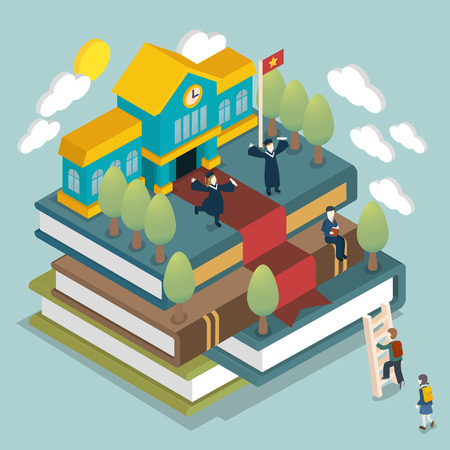 urban art: graduated concept in 3d isometric flat design