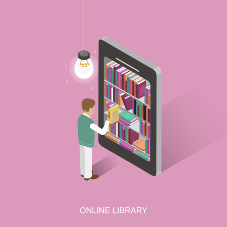 library background: online library concept in 3d isometric flat design