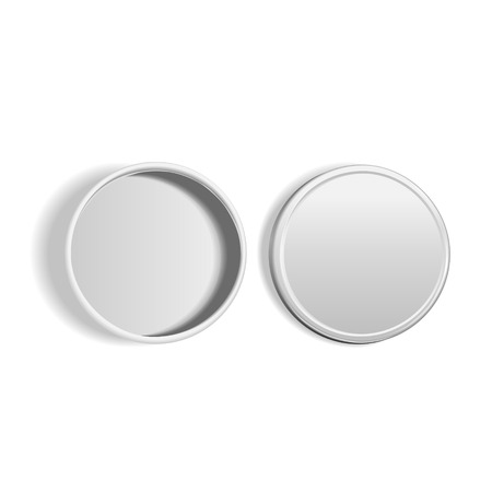 top view of open round metal box isolated on white background  イラスト・ベクター素材