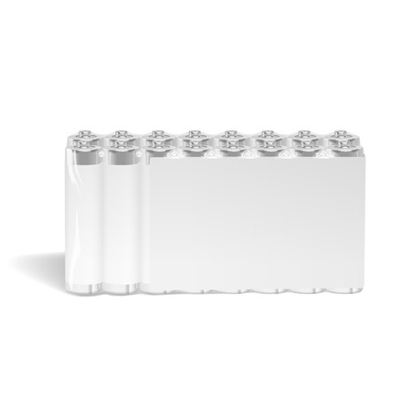 power supply unit: pack of blank batteries isolated on white background Illustration