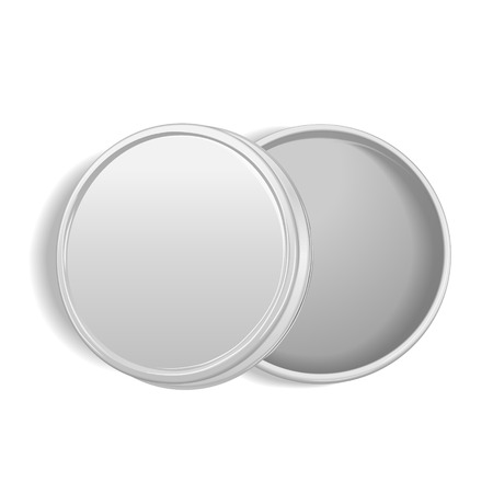 round: top view of open round metal box isolated on white background Illustration