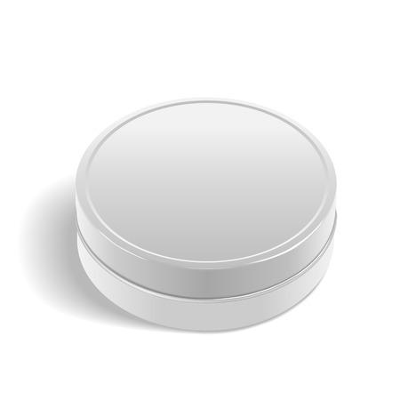 round: round metal box isolated on white background