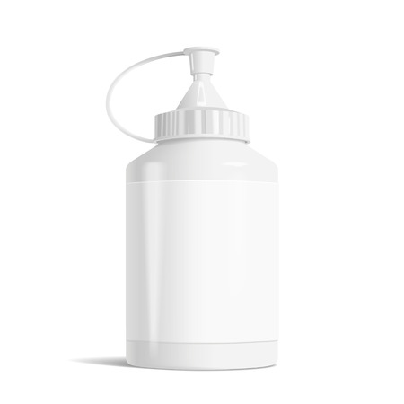 large group of object: blank paint bottle with label isolated on white background