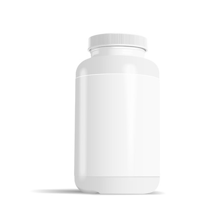 white pills: blank medicine bottle with label isolated on white background