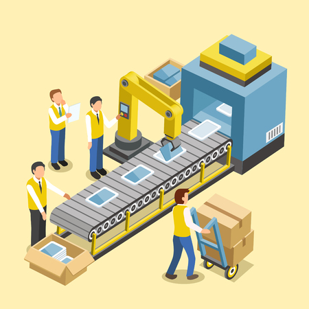 manufacturing occupation: robotic production line concept in 3d isometric flat design Illustration