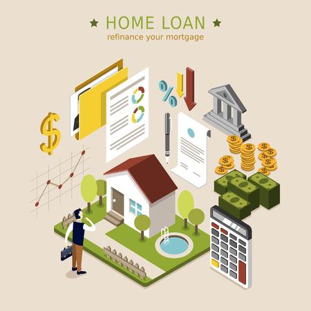 Pojęcie kredytu mieszkaniowego w 3d izometryczny płaskiej konstrukcji