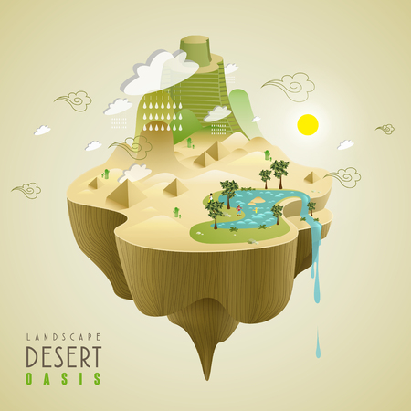 water plants: oasis in the desert concept in 3d isometric flat design Illustration