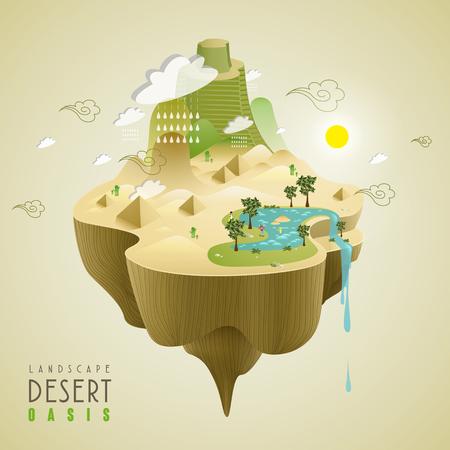 desert oasis: oasis in the desert concept in 3d isometric flat design Illustration