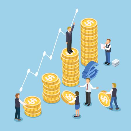 cash money: Concepto de crecimiento de la inversi�n en dise�o plano isom�trico 3d