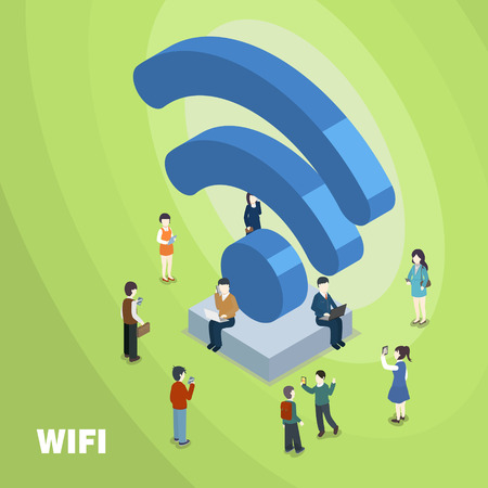 wifi connected concept in 3d isometric flat design Çizim