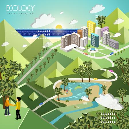 urban city: ecology urban landscape concept in 3d isometric flat design