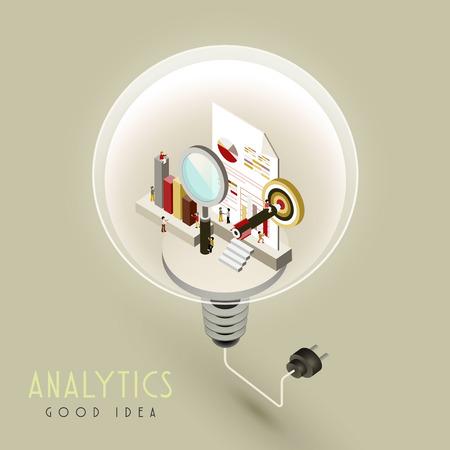 analytics concept in 3d isometric flat design Illustration