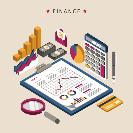 finance concept: finance concept in 3d isometric flat design Illustration