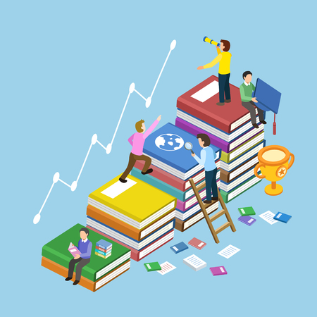 student with books: education concept with book stairs in 3d isometric flat design Illustration