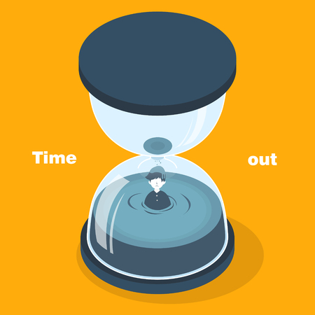 time out: time out concept in 3d isometric flat design Illustration