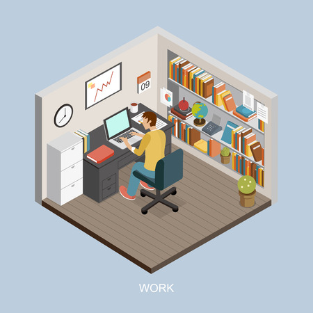 Study Desk: work at home concept in isometric 3d flat design